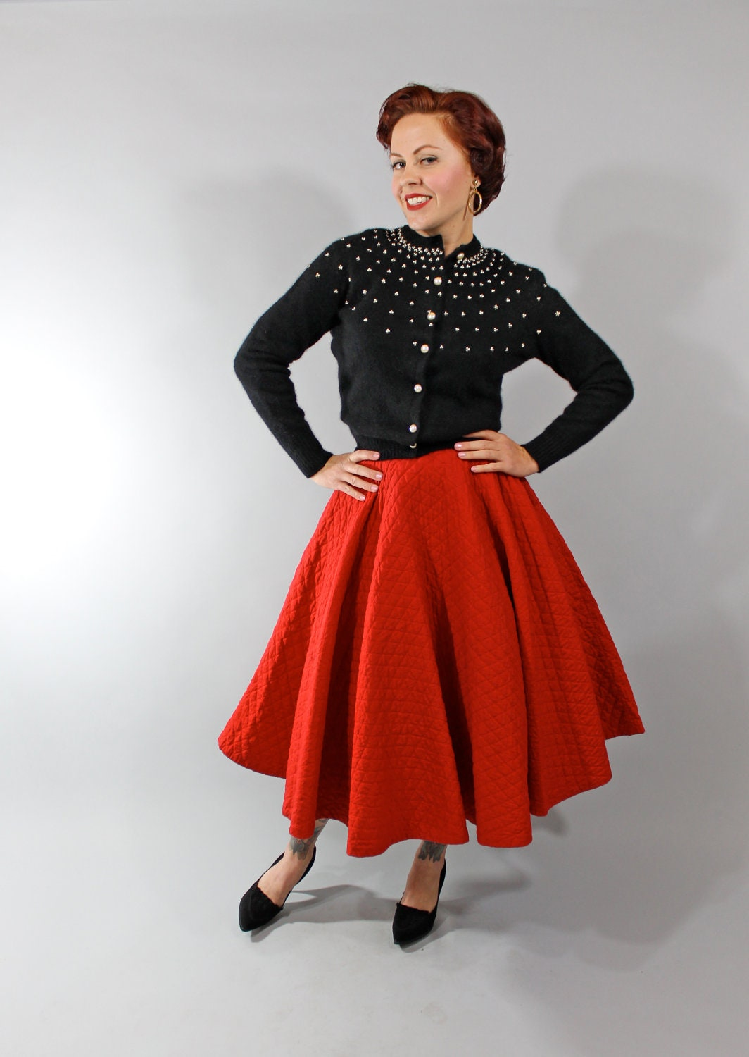 1950s Vintage Skirt Winter Fashion Bright Red Quilted 50s