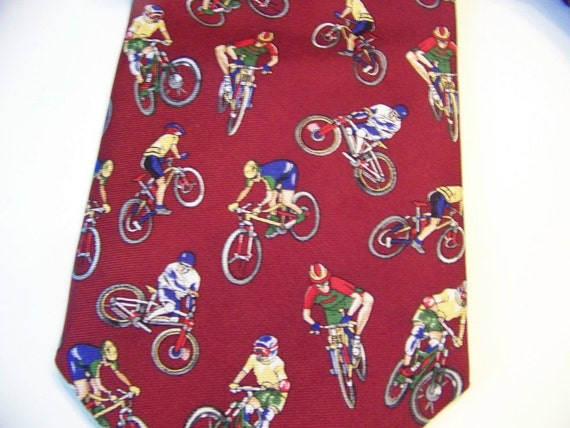 RESERVED for M -  Vintage Men'sCyclists Bicyclists Tie Necktie by Museum Artifacts Silk
