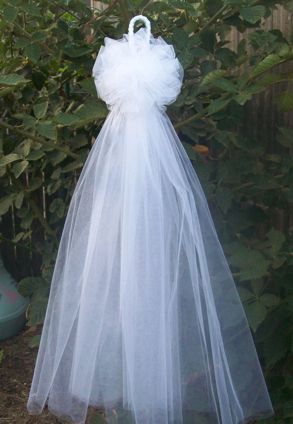 Tulle pew bows quinceanera church pew decor white pew by - Bow decorations for weddings ...