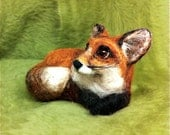 Tiny RED FOX - Beautiful & OoaK  - needle felted soft sculpture - fiber art - QofQ