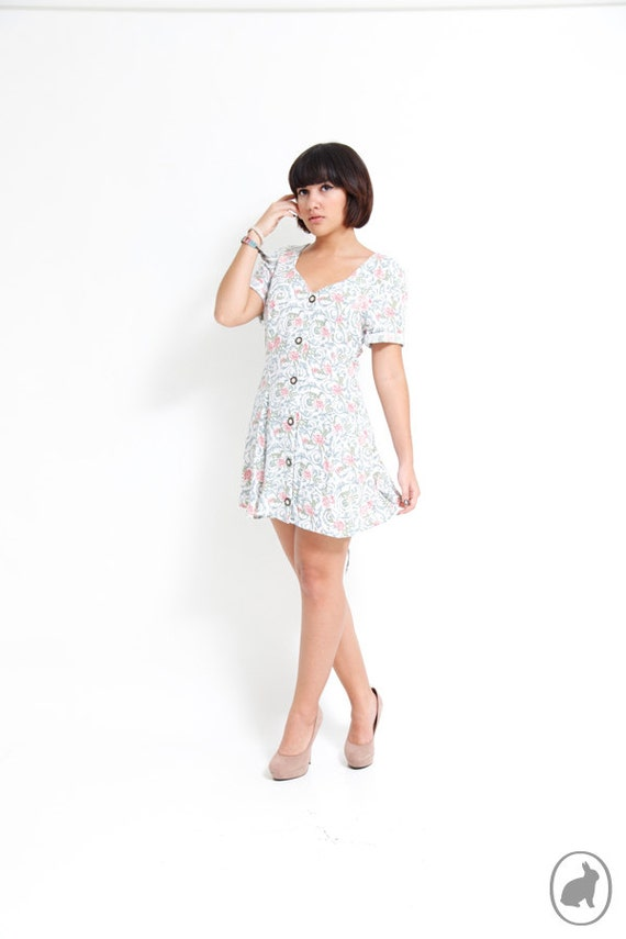 90s White Floral Grunge Mini Dress - Summer Dresses - Indie Hipster Fashion