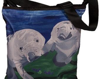 Manatee Large Cross Body  Handbag by Salvador Kitti -  Save The Manatees, Read How