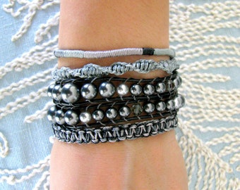 Beaded Leather Wrap Bracelet With Macrame and Silver Button Clasp - Shades of Grey
