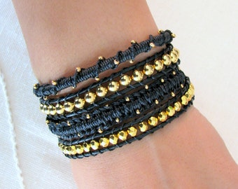 Beaded Macrame Leather Wrap Bracelet in Black and Gold
