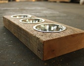 Wood Dog or Cat Dish Holder reclaimed beam 3 BOWL EXTRA SMALL
