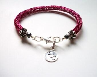 Viking Knit Bracelet -  Hot Pink & Black Hematite - Personalizeable