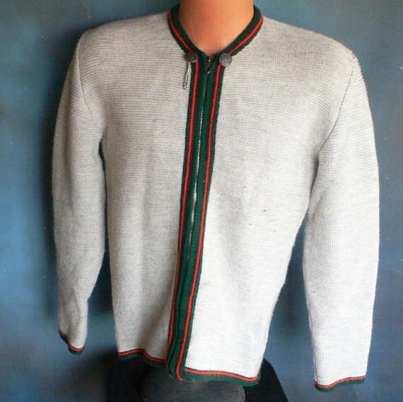 vintage sweater jacket made in west germany wool rayon zipper front from Diz Has Neat Stuff