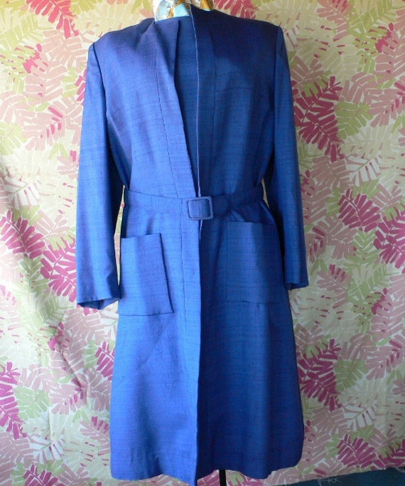 vintage suit ladies 2 piece dress and jacket with belt Neiman Marcus royal blue Hermes style lining from Diz Has Neat Stuff