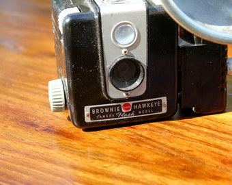 vintage kodak brownie hawkeye camera with flash