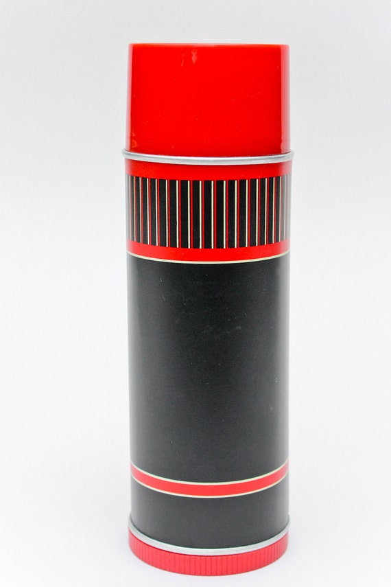 vintage thermos : graphic red black stripes . aladdin