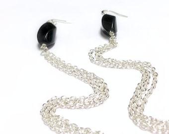 Long Black Earrings - Chain Jewellery - Sterling Silver Jewelry - Shoulder Duster - Fashion - Mod