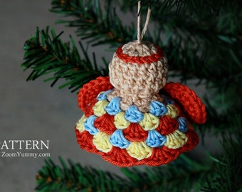 Crochet Pattern - Crochet Christmas Granny Angel Ornaments (Pattern No. 024) - INSTANT DIGITAL DOWNLOAD