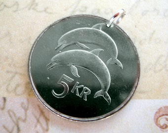 DOLPHIN COIN NECKLACE - Iceland - two dolphins - 5 kronur - viking - icelandic jewelry - dolphin keychain - Viking necklace