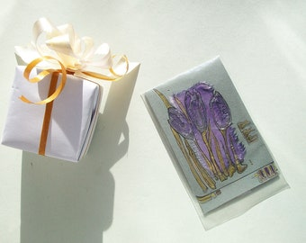 Mauve crocuses - small blank greeting card for any event