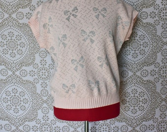 Vintage 1980's Pink Sweater with Silver Lurex Bows Medium