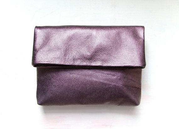 SALE. M E T A L L I C PLUM Envelope Clutch. Leather Fold Over Clutch.