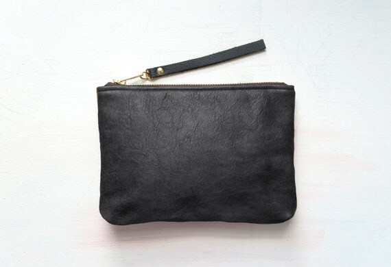 SALE. C H A R C O A L Leather Clutch. BLACK Leather Perfect Pouch.