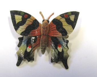 Vintage Enamel Butterfly or Moth Brooch, Wear or repurpose, Insect brooch