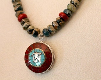 Om Necklace, Om Pendant, Yoga Jewelry, Coral, Turquoise, Yoga Inspired