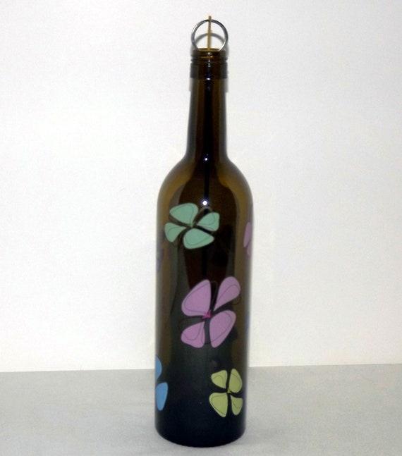 Upcycled Retro Fab Flowers Glass Wine Bottle Incense Burner