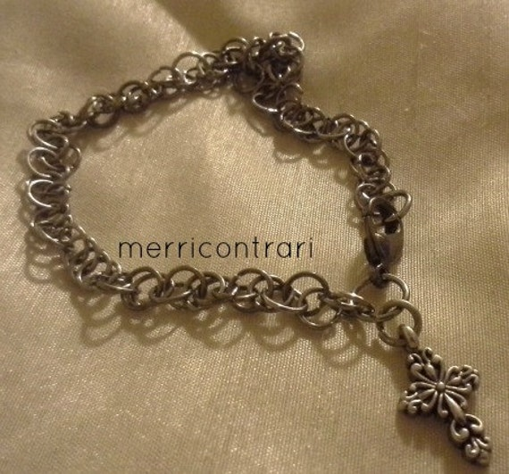 Spiral Charm Bracelet - silver chainmaille with silver cross