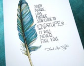 Nature Quote Print - Feather Art - Teal Blue - Study Nature - 8x10 Print