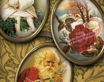 Victorian Old Fashioned Christmas - Digital Collage Sheet - 30x40mm Cameo Size Ovals - Pendant Images - Instant Download & Print
