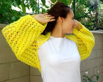 Wedding Shrug Knit Yellow Shrug Cover Ups Shawls Wraps Long Sleeve Evening Shrug Womens bolero Yellow Bolero Shrugs Boleros Bridesmaids Gift
