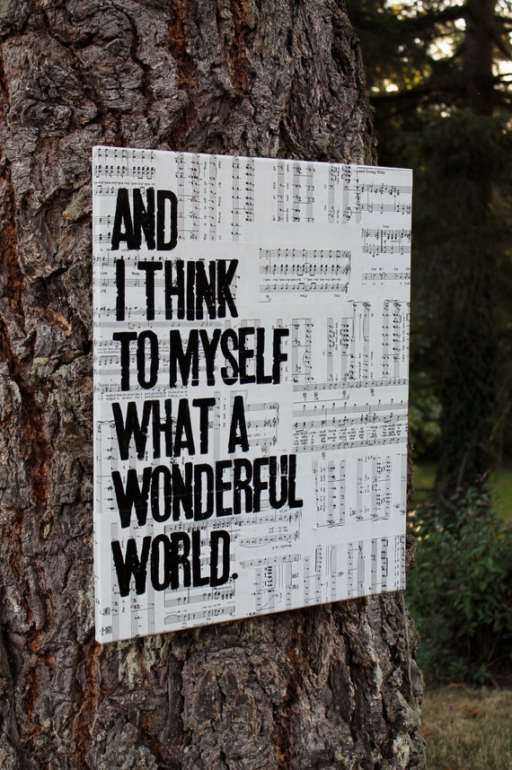 Items Similar To 16x20 What A Wonderful World Lyrics From Louis Armstrong 39 S Wonderful