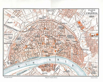Cologne Germany Vintage City Map  Street Plan 1920s