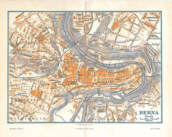 Vintage City Map Bern Street Plan 1920s Switzerland