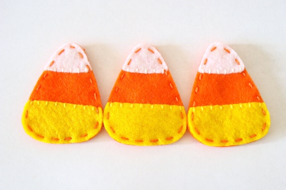 Halloween Decorations Candy Corn Felt Ornament Set