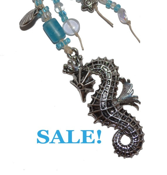 Silver SeaHorse  OOAK Blue Aqua Beaded KeyChain or Purse Jewelry