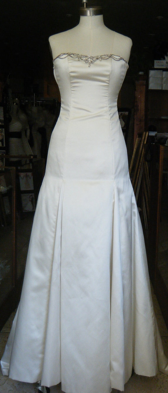 FURTHER REDUCED Wedding gown handmade in Canada Ivory satin adorned with vintage inspired embellishment