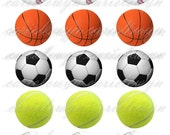 Sports Balls Bottlecap Images / Baseball Basketball Soccer Tennis Volleyball / Printable Digital Collage 1-Inch Circles / Instant Download