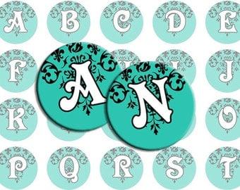 Damask Alphabet Letters for Bottlecap Images / TEAL and Black Damask Initials Digital Collage / Printable 1-Inch Circles / Vintage Motif