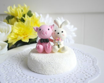 Custom Wedding Cake Topper - Pinky piggy & Creamy bunny Couple