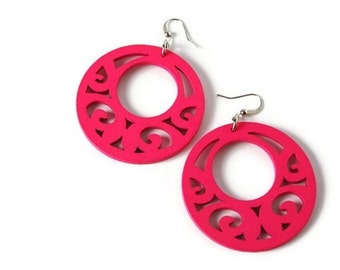 Neon Pink Wood Earrings in a Boho Style, Neon Jewelry Perfect for Summer