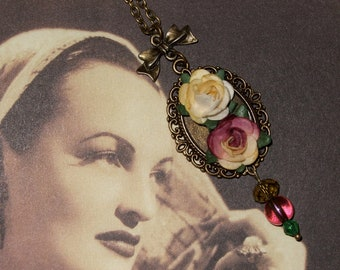 Rose Cameo, Paper Flowers, Cameo Necklace, Pink and Cream, Victoriana Style, Flower Jewelry, Rose Necklace, Long Drop Pendant, Ornate Charm