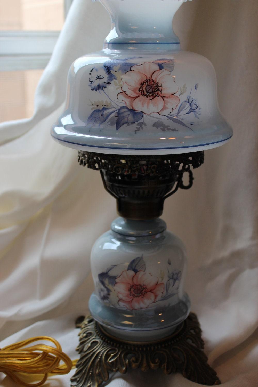 Vintage Blue Floral Hurricane Lamp