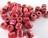 50 Vintage 5x4 Red Sparkle Tube Beads Bd363