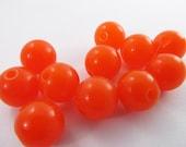 30 Vintage 11mm Bright Opaque Orange Lucite Beads Bd413