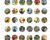 Wizard of Oz Illustrations Digital Collage Sheet for jewelry, bow,  craft making - 1 inch circles - Dorothy, Scarecrow, Tinman, Lion,  more