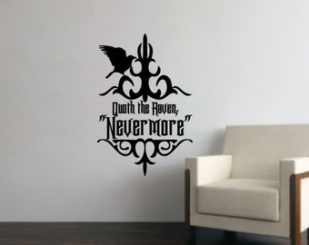 Raven Nevermore Decal - Quoth The Raven Removable Vinyl Wall Decal 22203