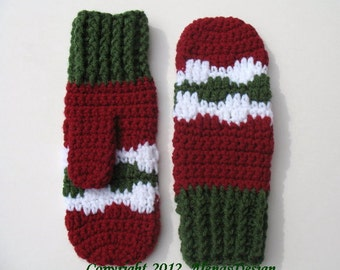 Crochet Pattern 067 - Crochet Mitten Pattern for Christmas Mittens - Mittens Patterns - Crochet Glove Pattern Kids Toddler Adult Mittens