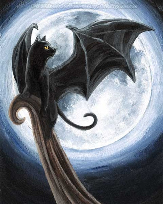 Black Cat Art, Full Moon Print, Bat Wings, 8x10 Wall Art, Halloween Decor, Fantasy Illustration, Night Sky, Pet Owners Gift, Gothic Artwork