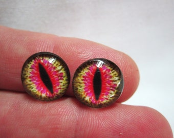 Glass eyes dragon reptile eyes 14mm cabs