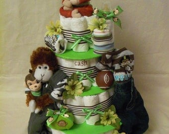 Baby Boy 4 tier Diaper cake - an adorable baby shower gift - made to order