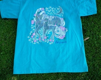 Vintage Early '90s Glitter IRONIC CALIFORNIA UNICORNS Tshirt w/ Moon and Flowers