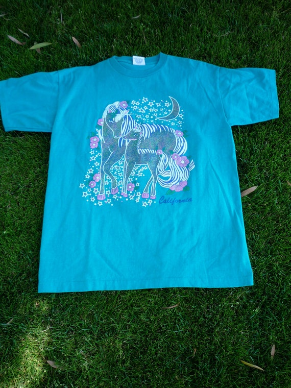 Vintage Early '90s Glitter IRONIC CALIFORNIA UNICORNS Tshirt w/ Moon and Flowers reserved for Kait Jensen
